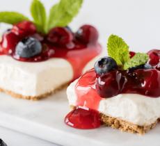 Cherry-Cheesecake-with-Berry-Sauce